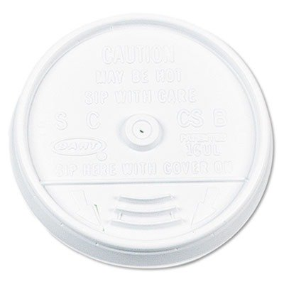 Dart 16UL White Sip-Thru Plastic Lid For Hot/Cold Foam Cup -