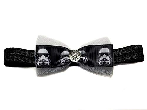 Mini Ribbon Hair Bows with Rhinestones Group 2 (Small Headband(Newborn to 3 months), Clone Troopers) ()