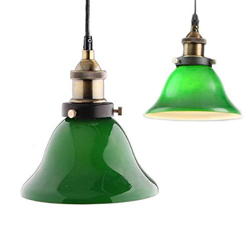 ✨Green Glass Hanging Light ,Creative Industrial Edison Vintage Style Home Lighting Restaurant Bedroom Living Room Retro Emerald Green Glass Pendant Light (Green Glass Fixtures Light Pendant)