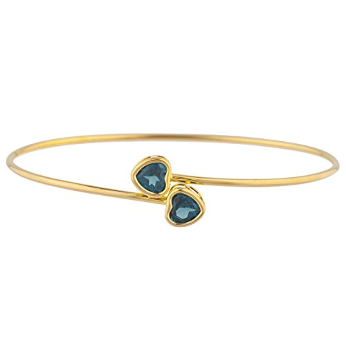 Simulated London Blue Topaz Heart Bezel Bangle Bracelet 14Kt Yellow Gold Plated Over .925 Sterling Silver