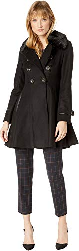 Via Spiga Women's Double Breasted Faux Fur Club Collar Fit 'n Flare Coat Black 2 (Collar Coat Club)