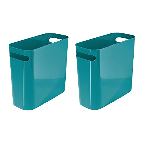 mDesign Slim Plastic Rectangular Small Trash Can Wastebasket, Garbage Container Bin with Handles for Bathroom, Kitchen, Home Office, Dorm, Kids Room - 10'' high, Shatter-Resistant, 2 Pack - Teal Blue by mDesign
