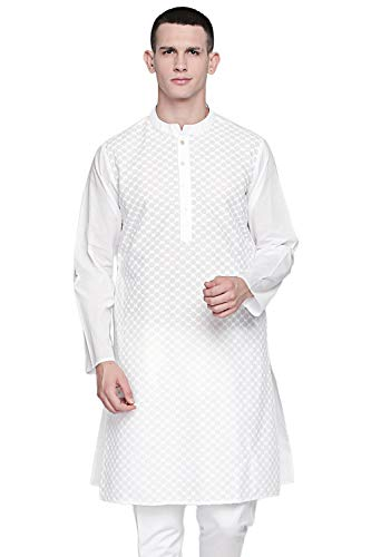 - In-Sattva Men's Indian Band Collar Pure White All-Over Embroidered Kurta Tunic, Check, White, MD
