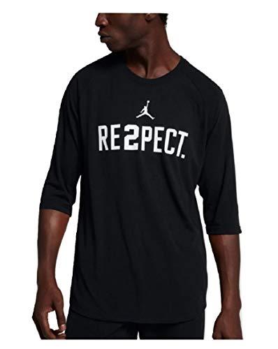 (NIKE Jordan Men's Derek Jeter Re2pect Crew Neck T-Shirt Black/White 921527-010 (X-Large))