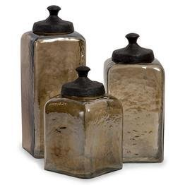 Brown Kitchen Canisters (Square Brown Luster Canisters - Set of 3)