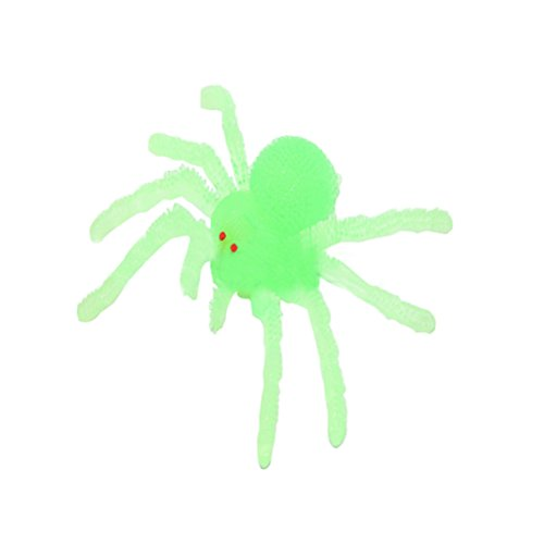 Tinksky Fake Spider TPR Super Stretchy Practical Jokes Props Realistic Rubber Spider for Prank Halloween Decoration (Jelly Green)]()