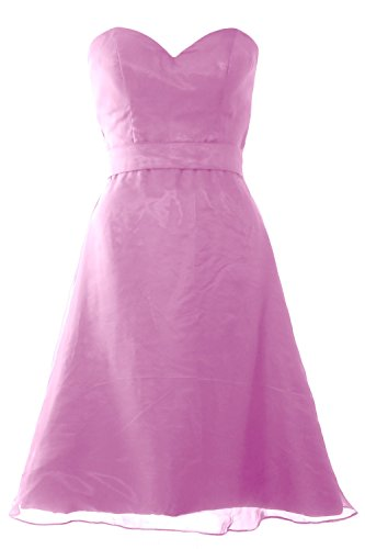 MACloth Women Sweetheart Short Bridesmaid Dress Wedding Party Gown with Sash Rosa