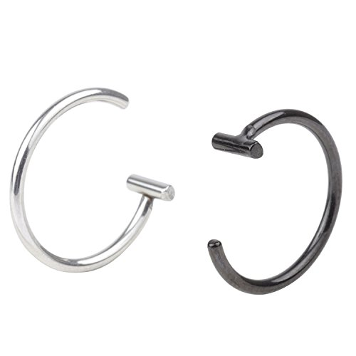 DRW 2pcs 18G Stainless Steel Body Jewelry Piercing Nose Open Hoop Ring Nose Studs Rings Body Slave Jewelry 8mm