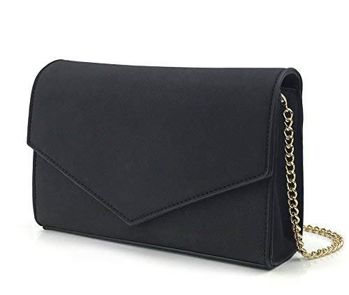 Minimalist Evening Envelope Clutch Chain Shoulder Bag Women Faux Leather Suede Purse (Black)