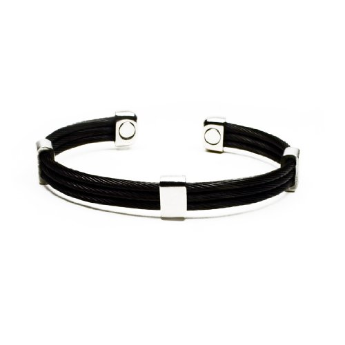 Accents Kingdom Magnetic Gun Metal Black Trio Stainless Steel Cable Golf Cuff Bracelet (Magnet Trio)