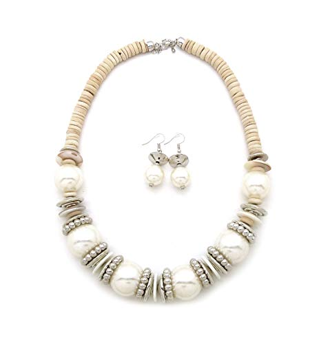 Women's Colorful Bead & Wood Disc Cluster Statement Fashion Necklace (White)
