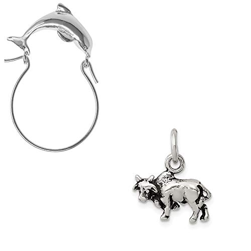 Mireval Sterling Silver Antiqued Bull Charm on a Dolphin Charm Holder