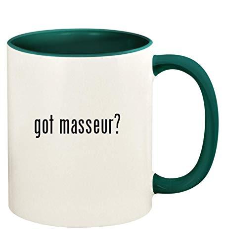 got masseur? - 11oz Ceramic Colored Handle and Inside Coffee Mug Cup, Green (Best Method Prostate Massage)