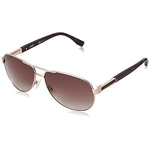BOSS by Hugo Boss Men's B0705PS Aviator Sunglasses, Semi Matte Light Gold & Brown Gradient, 62 mm