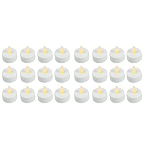 Easy Gift Ideas Flameless LED Battery Operated Tealight Candles 24 Bulk Pack of White Tealights