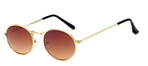 (My Shades - Vintage Classic Metal Oval Fashion Sunglasses (Gold, Brown) )