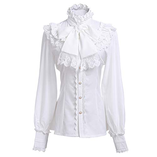a95d48b008 Women Lolita Lace Lotus Ruffle Shirt Stand-up Collar Retro Victorian  Steampunk Gothic Blouse Vintage