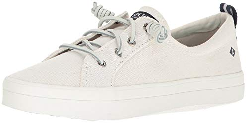 SPERRY Women's Crest Vibe Linen Sneaker, White, 7.5