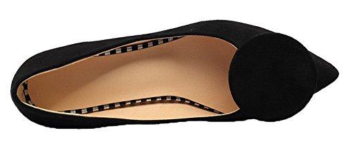 Puro Flats di Tirare Tacco Medio Nero Punta Donna Mucca Pelle Ballet Chiusa AgooLar 0wPpqW