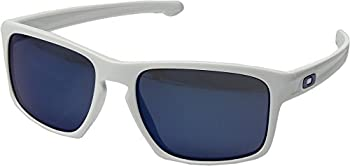Oakley Men's Sliver White/Ice Iridium Polarized Sunglasses