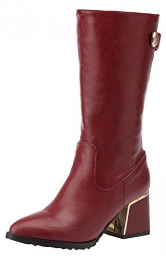 Calf Women's Side Heeled Toe Mid Boots Martin Comfy Block Zipper Red Round Easemax Low vwqdAIvz