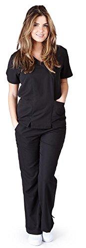 Ultra Soft Brand Scrubs - Premium Womens Junior Fit Two Pocket Crossover Scrub Set, Black 39185-XX-Large