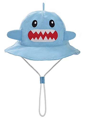 Baby Boy Bucket Hat with Chin Strap - Toddler Boy Quickly Dry Sun Protection Beach Hat (XL 52/2-4 Years, Cotton Shark)