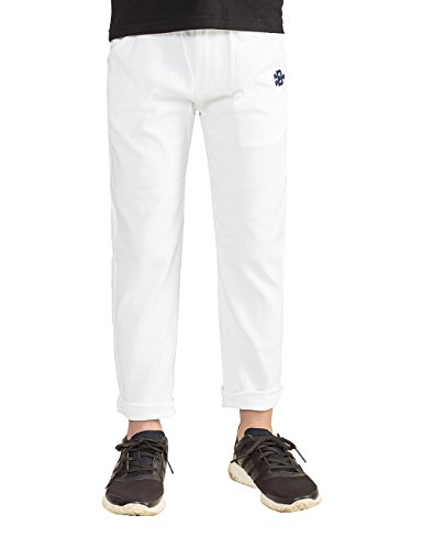 BYCR Boys' Solid Color Elastic Cotton Pant for Kids Size 4-12 No. 7160108132 (150 ( US Size 10 ), white) (Joggers For Boys 11)