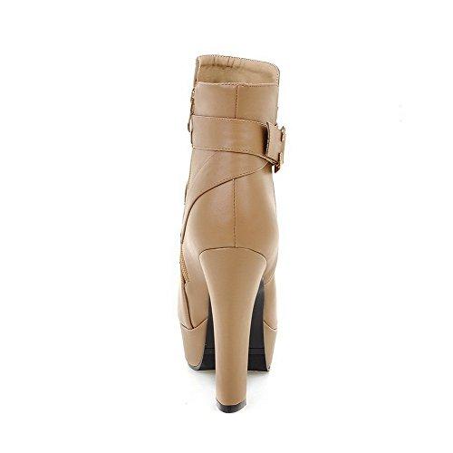 AllhqFashion Damen Niedrig-Spitze Reißverschluss PU Leder Rund Zehe Stiefel Aprikosen Farbe