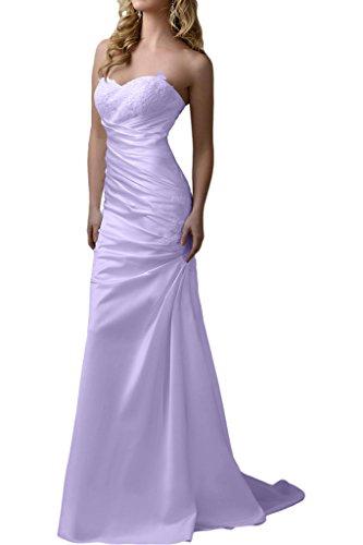Abendkleider Satin Etuikleider Braut Bodenlang La Spitze Herzausschnitt Pink Flieder Ballkleider Marie Spitze Promkleider Xpvq0