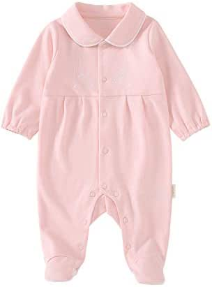 pureborn Newborn Baby Girl Footie Footed Snug Fit Pajamas Cotton Sleep and Play Coveralls