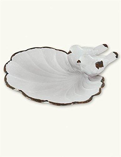 (Victorian Trading Co. White Bird Trinket Holder Dish Pewter)