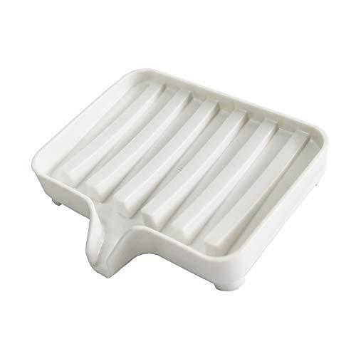 DrainingSoapDish, Sponge Holder Plate Easy to Clean Rustic Waterfall Plastic White Hand Soap Tray for Shower Bathroom Tub Kitchen Sink Laundry Countertop Mum Kids Girls Men Body Bath Soap Bar