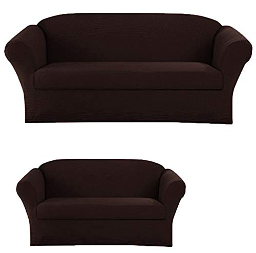 Elegant Home Stretch to Fit 3 Piece or 2 Piece or 1 Piece for Sofa Loveseat & Arm Chair Slipcover Furniture Protector # Stella (2 Piece Sofa &Love Seat Cover (2PC), Coffee/Brown) (2 Couches Couch And Loveseat Or)