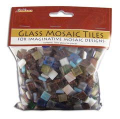 Jennifer's Mosaics Variety Mix 3/8-Inch Gold Veined Venetian Style Glass Mosaic Tile, Assorted Colors, 1-Pound