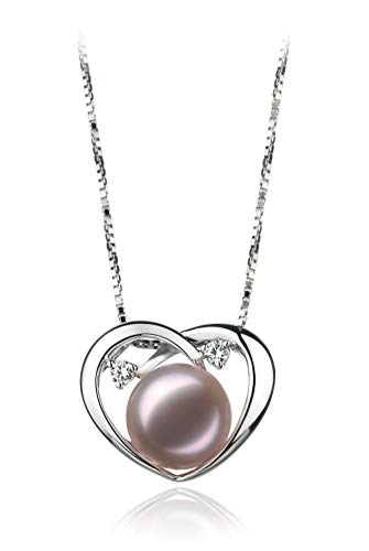 Katie Heart 9-10mm AA Quality Freshwater 925 Sterling Silver Cultured Pearl Pendant For Women