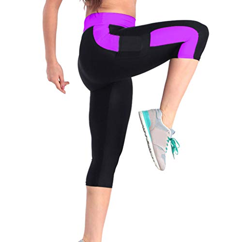 4Clovers Women's Yoga Pants High Waist Workout Capri Leggings Sports Running Active Tights w Side Pocket Purple