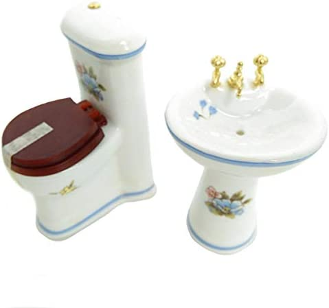 toys, games, dolls, accessories, dollhouse accessories,  furniture 1 discount Posee Dollhouse Bathroom Set 1/12 Scale Toilet deals