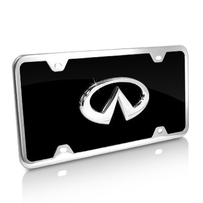 Black Acrylic License Plate (Infiniti Black Acrylic License Plate with Chrome Frame)