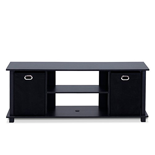 Furinno 13054BK/BK Econ Entertainment Center with Storage Bins, Black