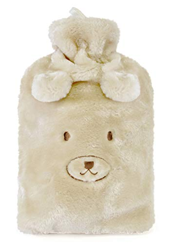 bit, Bear & Cat Hot Water Bottles with Soft Plush Removable Cover, Bear ()