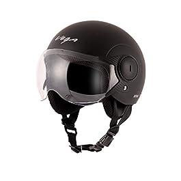 Vega Atom ABS Material Dull Black Helmet for Women (M)