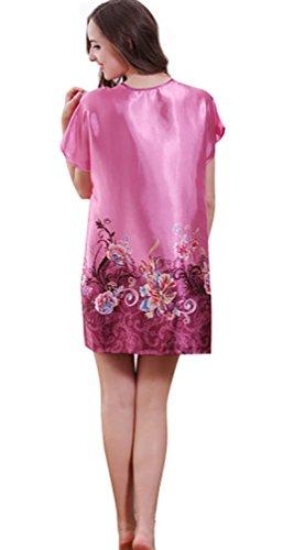 NiSeng mujer camisones manga corta verano impresión colorida satín pyjamas Purpúreo Claro