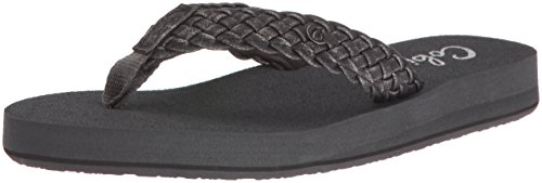 Cobian Women's Braided Bounce Flip Flop, Charcoal, 7 M US