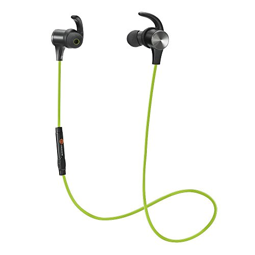 Bluetooth Headphones TaoTronics Wireless 4.2 Magnetic Earbuds Snug Fit for Sports with Built in Mic TT-BH07 (IPX6 Waterproof aptX Stereo 6-8 Hours Playtime) Green
