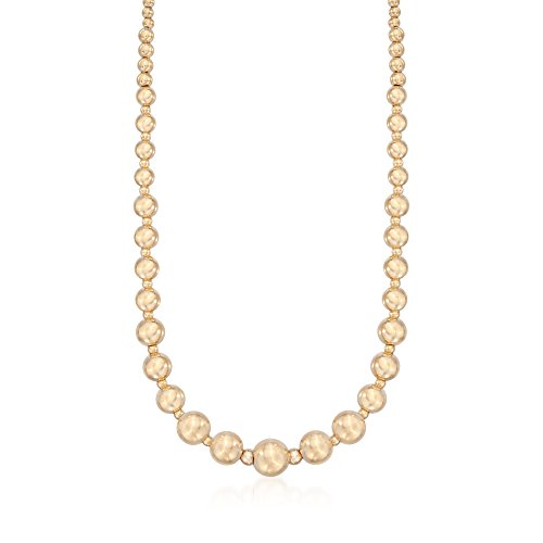 Bead Graduated Gold (Ross-Simons Italian 14kt Yellow Gold Graduated Bead Necklace)