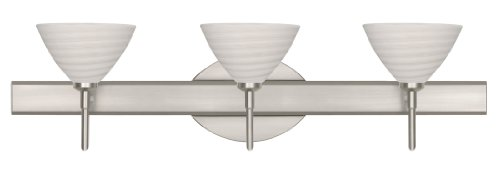Besa Lighting 3SW-1743KR-SN 3X40W G9 Domi Wall Sconce with Chalk Glass, Satin Nickel Finish - Domi Three Light