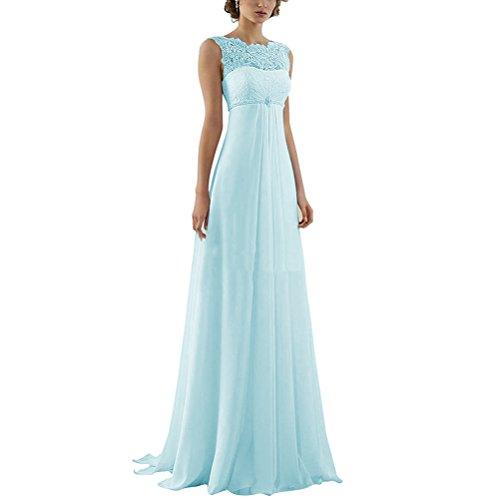 Damen Spitze Mutterschaft Perlen Lange Strand Elegant Reich Himmelblau Brautkleid Kleid Rueckenfrei Aiyana qUwBf5xYY