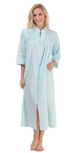 Miss Elaine Plus Robes - Seersucker Long Smocked Zip Front in Turquoise (Turquoise, 3X)