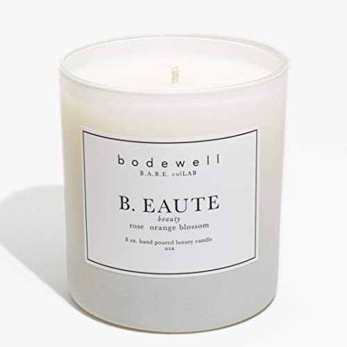 Bodewell Home B.EAUTE Candle 8OZ All Natural Premium Scented Luxury Candle - Rose, Orange Blossom